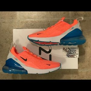 Nike Air Max 270 Lava Pink Blue Running Shoes 8.5
